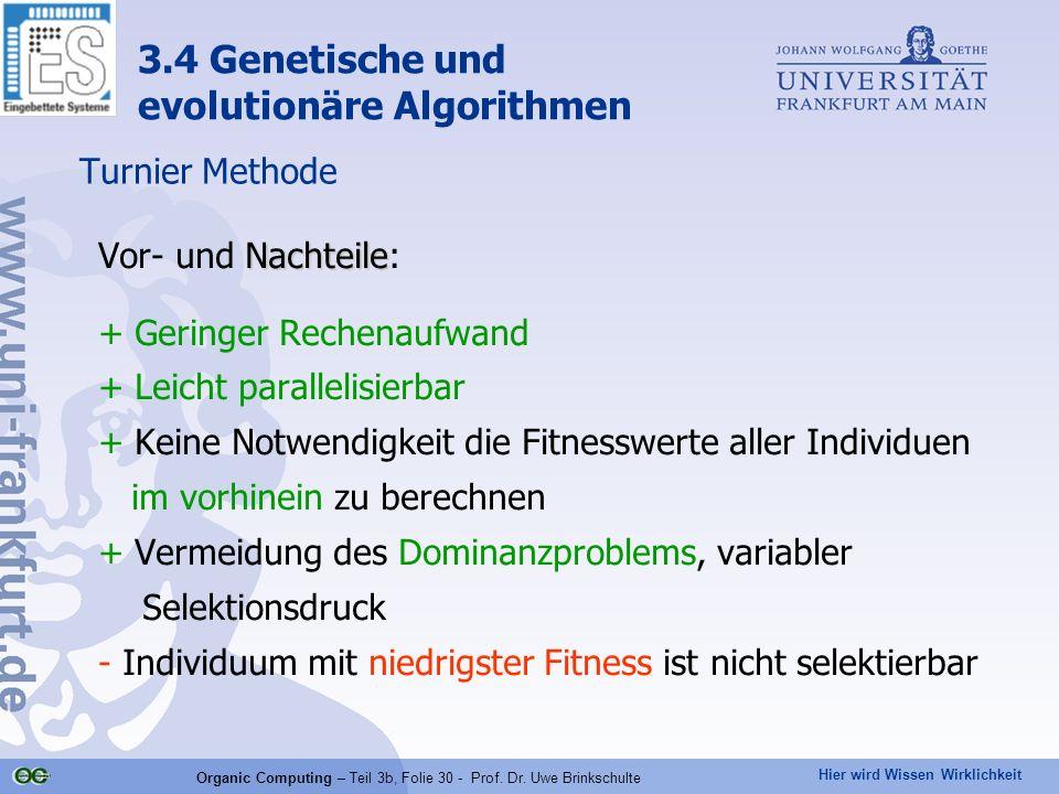 Hier wird Wissen Wirklichkeit Organic Computing – Teil 3b, Folie 30 - Prof. Dr. Uwe Brinkschulte Turnier Methode Nachteile Vor- und Nachteile: + Gerin