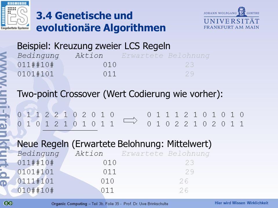 Hier wird Wissen Wirklichkeit Organic Computing – Teil 3b, Folie 35 - Prof. Dr. Uwe Brinkschulte 3.4 Genetische und evolutionäre Algorithmen Beispiel: