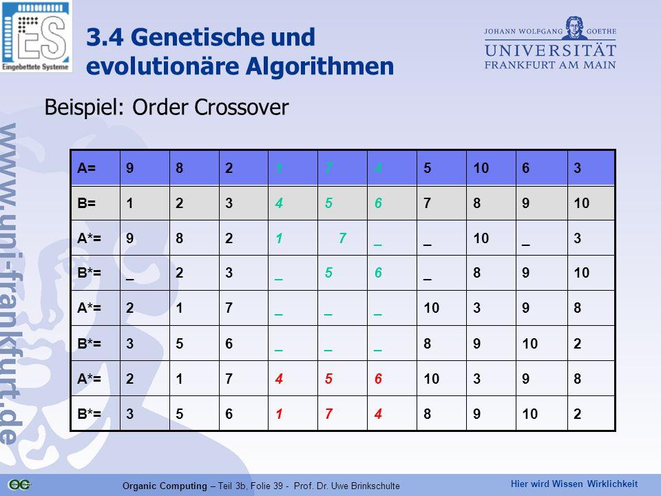 Hier wird Wissen Wirklichkeit Organic Computing – Teil 3b, Folie 39 - Prof. Dr. Uwe Brinkschulte Beispiel: Order Crossover 21098471653B*= 89310654712A