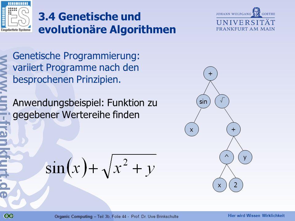 Hier wird Wissen Wirklichkeit Organic Computing – Teil 3b, Folie 44 - Prof. Dr. Uwe Brinkschulte Genetische Programmierung: variiert Programme nach de