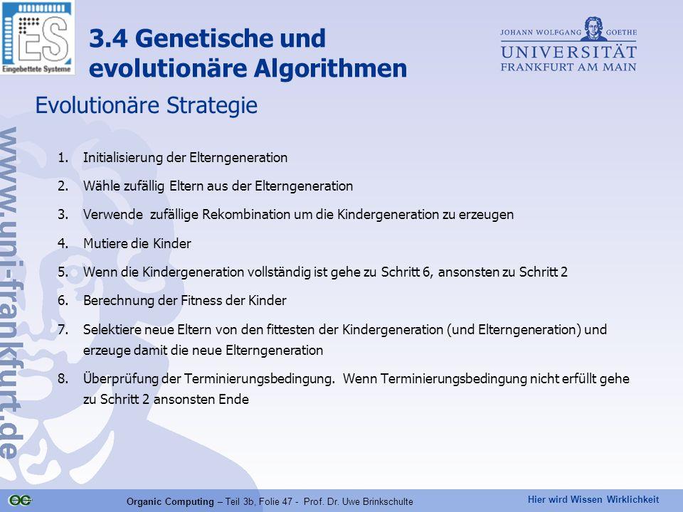 Hier wird Wissen Wirklichkeit Organic Computing – Teil 3b, Folie 47 - Prof. Dr. Uwe Brinkschulte Evolutionäre Strategie 1.Initialisierung der Elternge