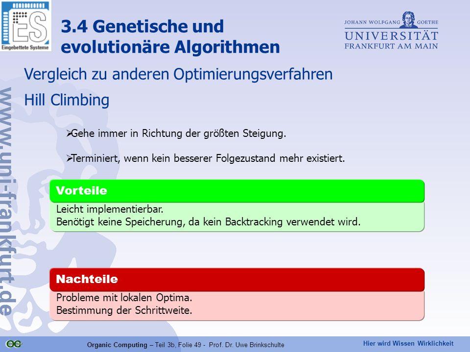 Hier wird Wissen Wirklichkeit Organic Computing – Teil 3b, Folie 49 - Prof. Dr. Uwe Brinkschulte Hill Climbing Leicht implementierbar. Benötigt keine
