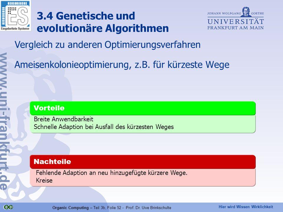 Hier wird Wissen Wirklichkeit Organic Computing – Teil 3b, Folie 52 - Prof. Dr. Uwe Brinkschulte Ameisenkolonieoptimierung, z.B. für kürzeste Wege Feh