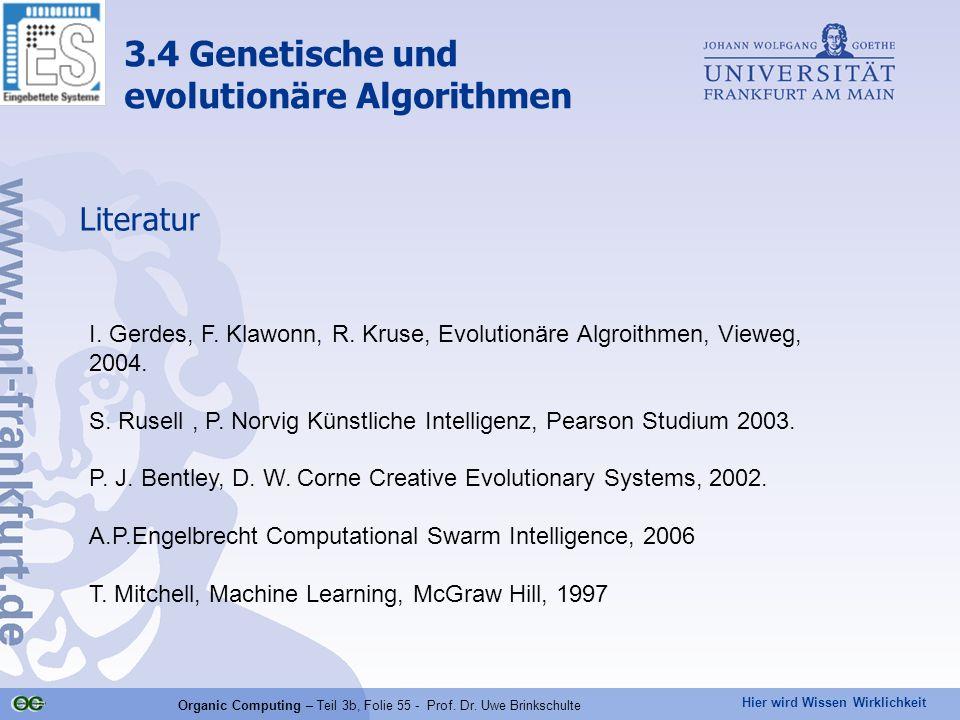 Hier wird Wissen Wirklichkeit Organic Computing – Teil 3b, Folie 55 - Prof. Dr. Uwe Brinkschulte Literatur I. Gerdes, F. Klawonn, R. Kruse, Evolutionä
