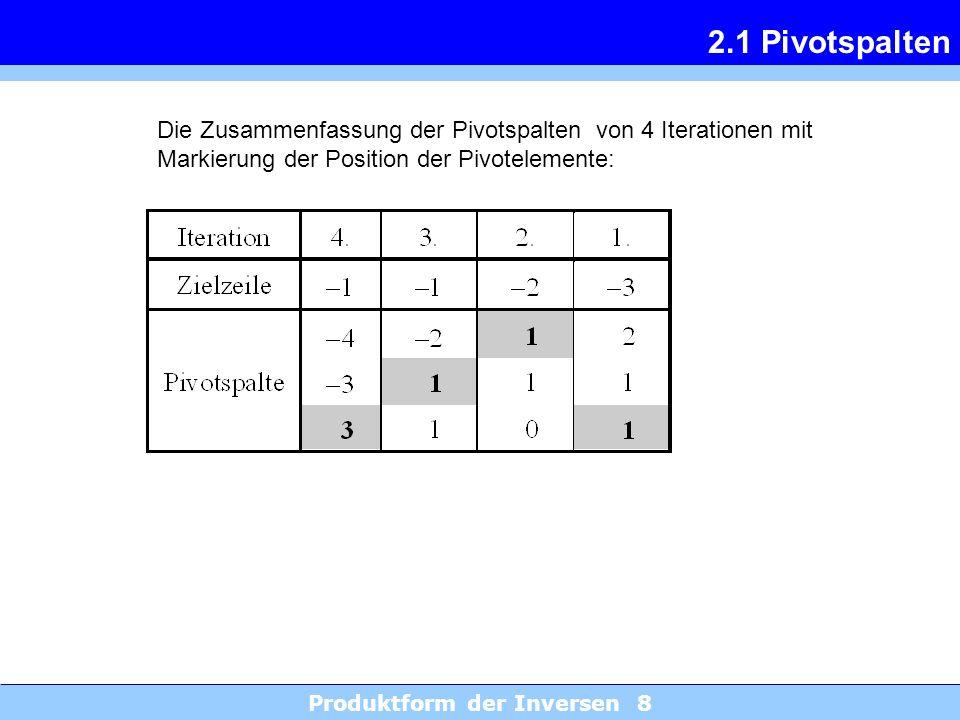 Produktform der Inversen 8 2.1 Pivotspalten Die Zusammenfassung der Pivotspalten von 4 Iterationen mit Markierung der Position der Pivotelemente: