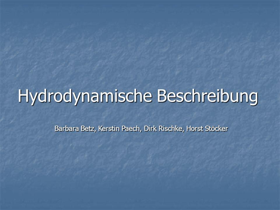 Hydrodynamische Beschreibung Barbara Betz, Kerstin Paech, Dirk Rischke, Horst Stöcker