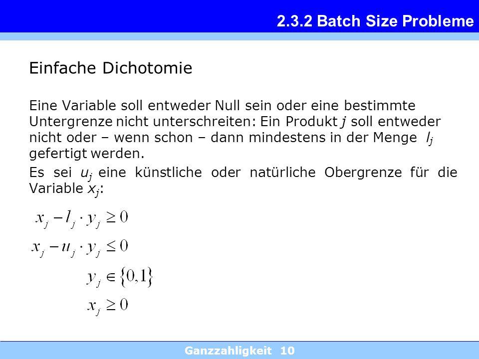 Ganzzahligkeit 10 2.3.2 Batch Size Probleme Einfache Dichotomie Eine Variable soll entweder Null sein oder eine bestimmte Untergrenze nicht unterschre