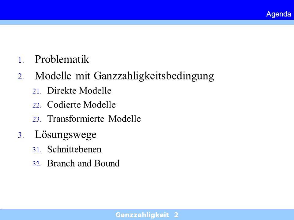 Ganzzahligkeit 2 Agenda 1. Problematik 2. Modelle mit Ganzzahligkeitsbedingung 21. Direkte Modelle 22. Codierte Modelle 23. Transformierte Modelle 3.