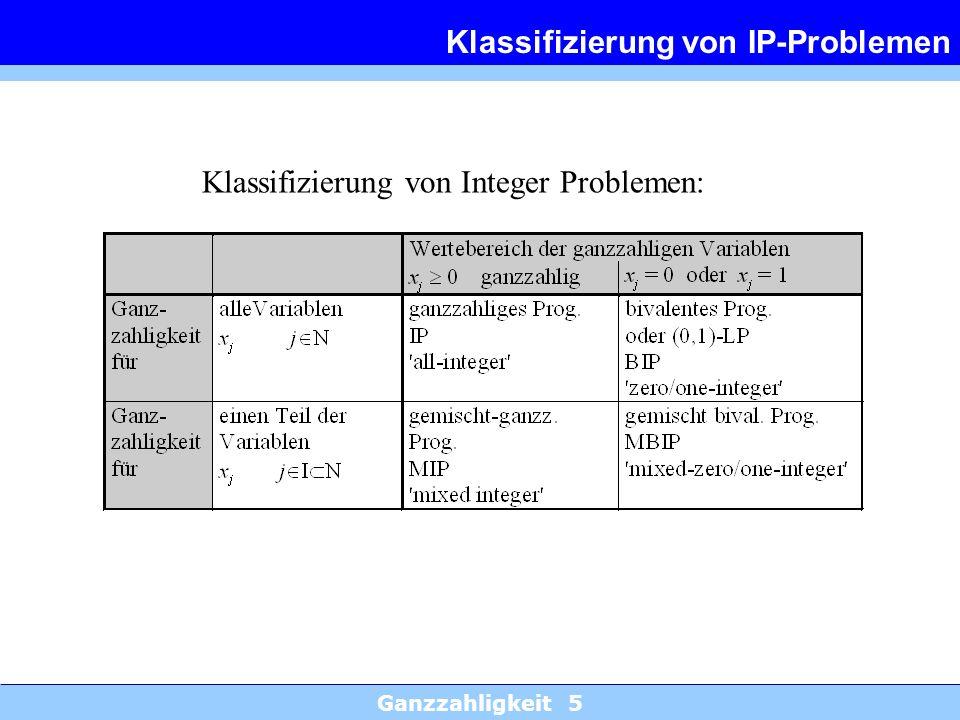 Ganzzahligkeit 5 Klassifizierung von IP-Problemen Klassifizierung von Integer Problemen: