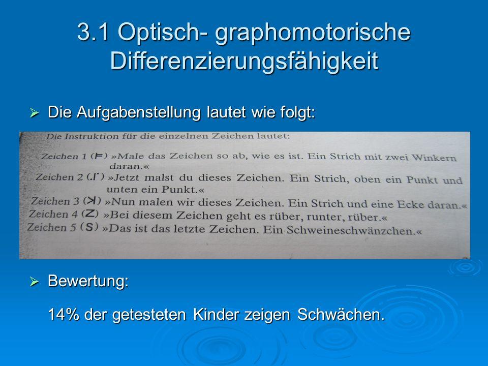 3.1 Optisch- graphomotorische Differenzierungsfähigkeit Die Aufgabenstellung lautet wie folgt: Die Aufgabenstellung lautet wie folgt:: Bewertung: Bewe