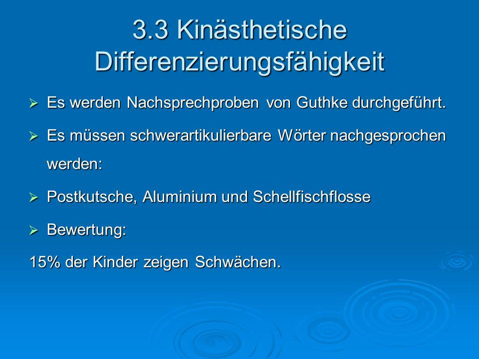 3.3 Kinästhetische Differenzierungsfähigkeit Es werden Nachsprechproben von Guthke durchgeführt. Es werden Nachsprechproben von Guthke durchgeführt. E