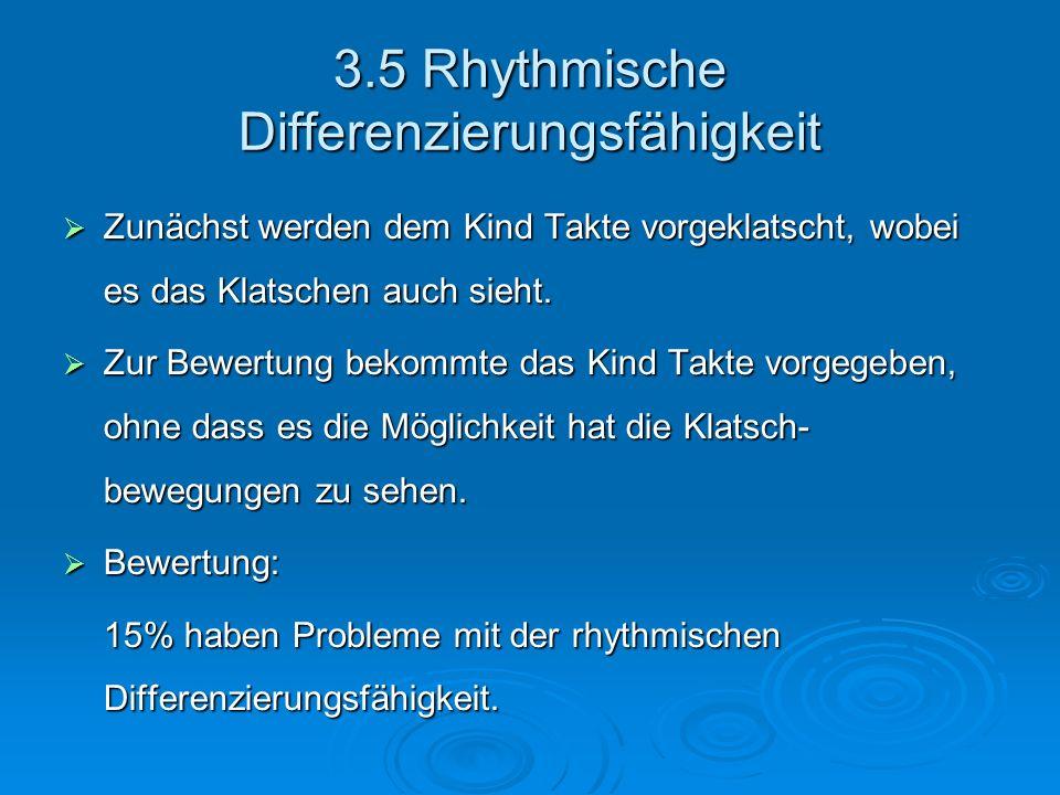 3.5 Rhythmische Differenzierungsfähigkeit Zunächst werden dem Kind Takte vorgeklatscht, wobei es das Klatschen auch sieht. Zunächst werden dem Kind Ta
