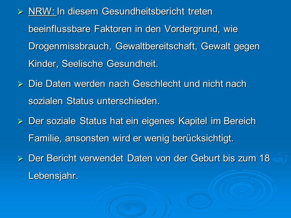 NRW: In diesem Gesundheitsbericht treten beeinflussbare Faktoren in den Vordergrund, wie Drogenmissbrauch, Gewaltbereitschaft, Gewalt gegen Kinder, Se