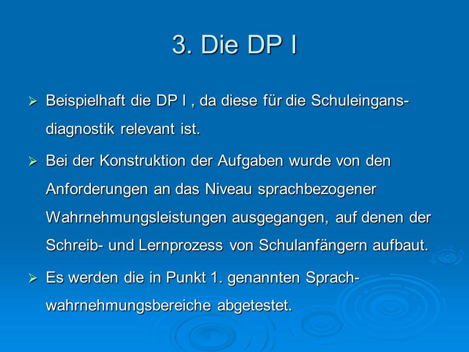 3. Die DP I Beispielhaft die DP I, da diese für die Schuleingans- diagnostik relevant ist. Beispielhaft die DP I, da diese für die Schuleingans- diagn