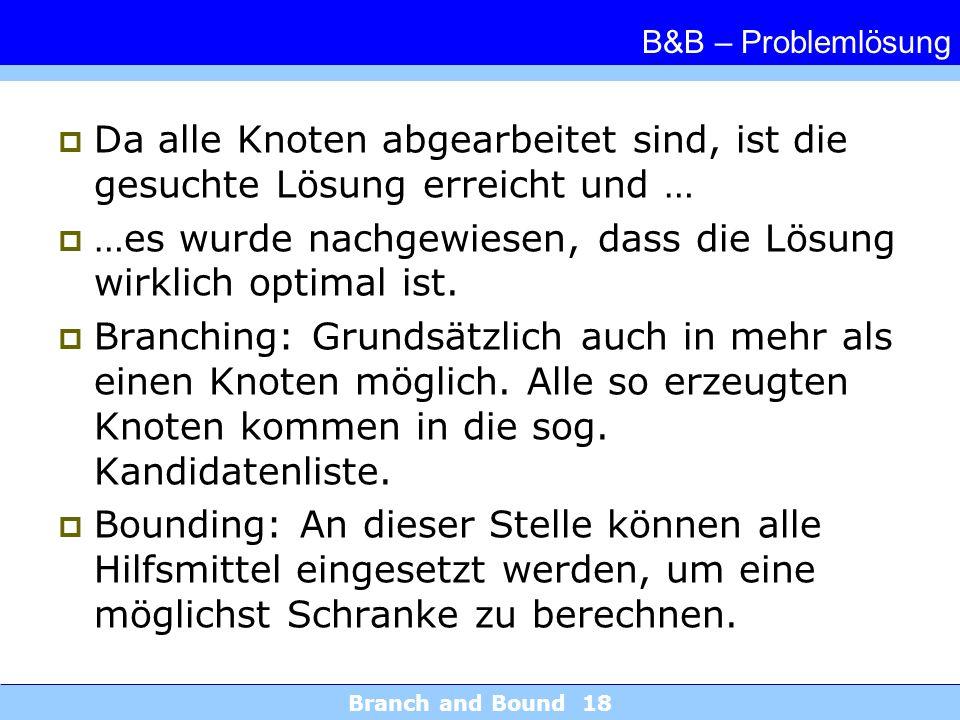 Branch and Bound 18 B&B – Problemlösung Da alle Knoten abgearbeitet sind, ist die gesuchte Lösung erreicht und … …es wurde nachgewiesen, dass die Lösung wirklich optimal ist.