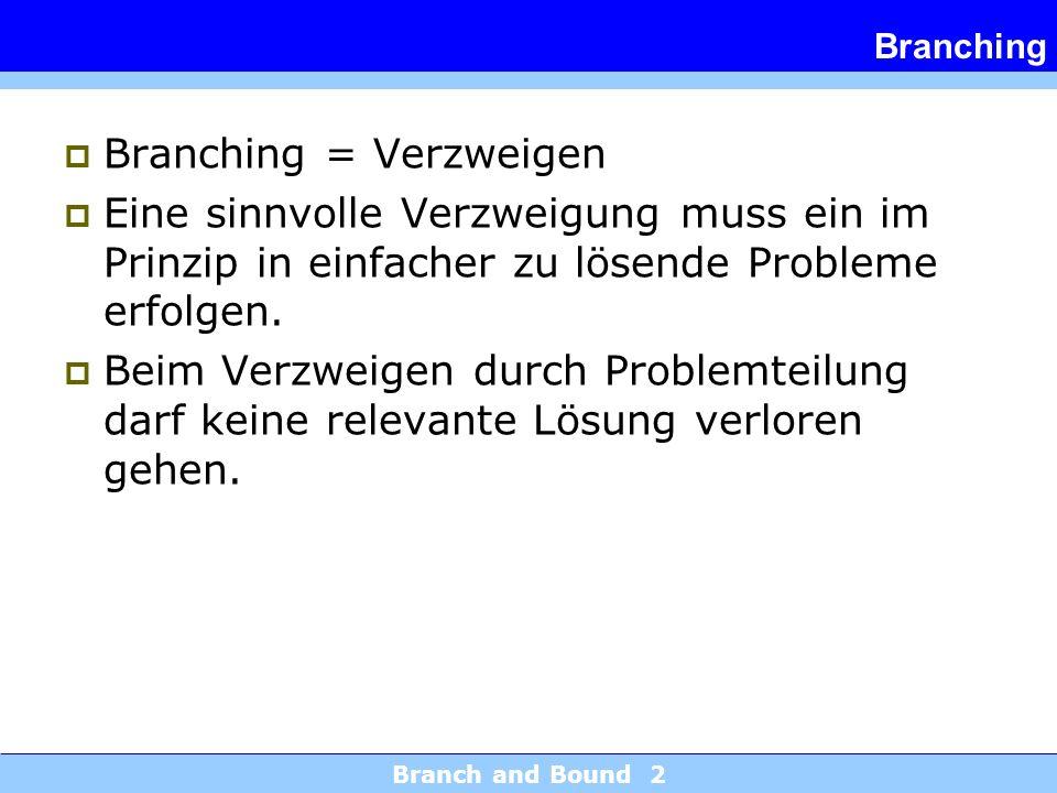 Branch and Bound 2 Branching Branching = Verzweigen Eine sinnvolle Verzweigung muss ein im Prinzip in einfacher zu lösende Probleme erfolgen.
