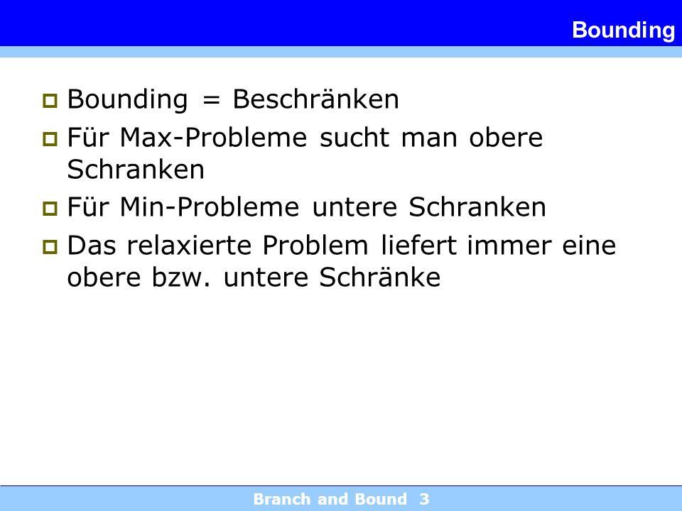 Branch and Bound 3 Bounding Bounding = Beschränken Für Max-Probleme sucht man obere Schranken Für Min-Probleme untere Schranken Das relaxierte Problem liefert immer eine obere bzw.