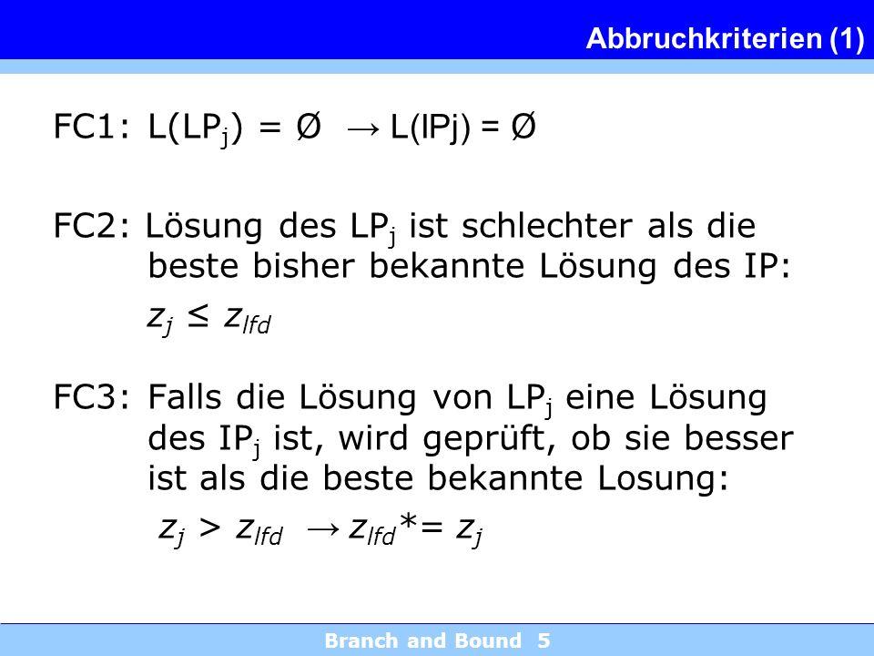 Branch and Bound 5 Abbruchkriterien (1) FC1:L(LP j ) = Ø L(IPj) = Ø FC2: Lösung des LP j ist schlechter als die beste bisher bekannte Lösung des IP: z j z lfd FC3:Falls die Lösung von LP j eine Lösung des IP j ist, wird geprüft, ob sie besser ist als die beste bekannte Losung: z j > z lfd z lfd *= z j