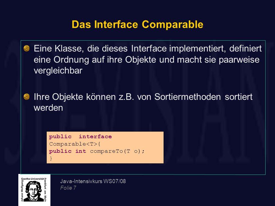 Java-Intensivkurs WS07/08 Folie 48 Erstellung eigener Exception-Klassen Zur Erstellung einer eigenen Exception-Klasse, muss entschieden werden, ob die neue Ausnahme eine geprüfte oder eine Laufzeitausnahme sein soll Eine Laufzeitausnahme muss von der Klasse java.lang.RuntimeException oder von einer ihrer Unterklassen abgeleitet werden Eine geprüfte Ausnahme muss von der Klasse java.lang.Exception oder von einer ihrer Unterklassen abgeleitet werden Die Klasse soll zwei Konstruktoren deklarieren, einen parameterlosen Konstruktor und einen Konstruktor, der als Parameter eine Textnachricht (message) übergeben bekommt