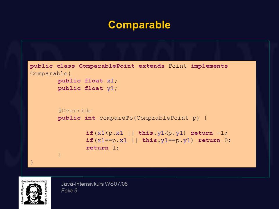 Java-Intensivkurs WS07/08 Folie 19 Object Überschreibung der toString-Methode in Bankkonto //Überschreibung von toString() in Bankkonto public String toString(){ return Kontoinformation:\r\n + Kontonummer: +kontoNummer+ \r\n + Kontoinhaber(in): +inhaber+ \r\n + Kontostand: +kontoStand+ \r\n ; } Bankkonto alexKonto=new Bankkonto(35870, Alex M. ,2103); System.out.println(alexKonto); Ausgabe: Kontoinformation: Kontonummer: 2150 Kontoinhaber(in): Alex M.