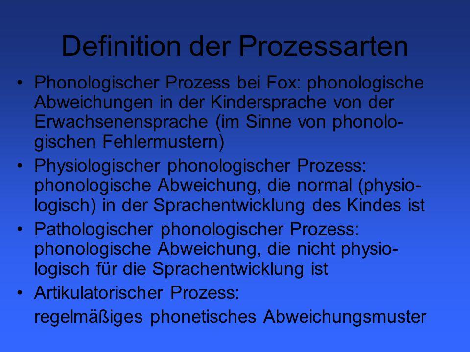 Symptomatik - Artikulations-/ Phonetische Störung Definition: Unfähigkeit, eine wahrnehmungsmäßig annehmbare Version eines Phons zu produzieren.