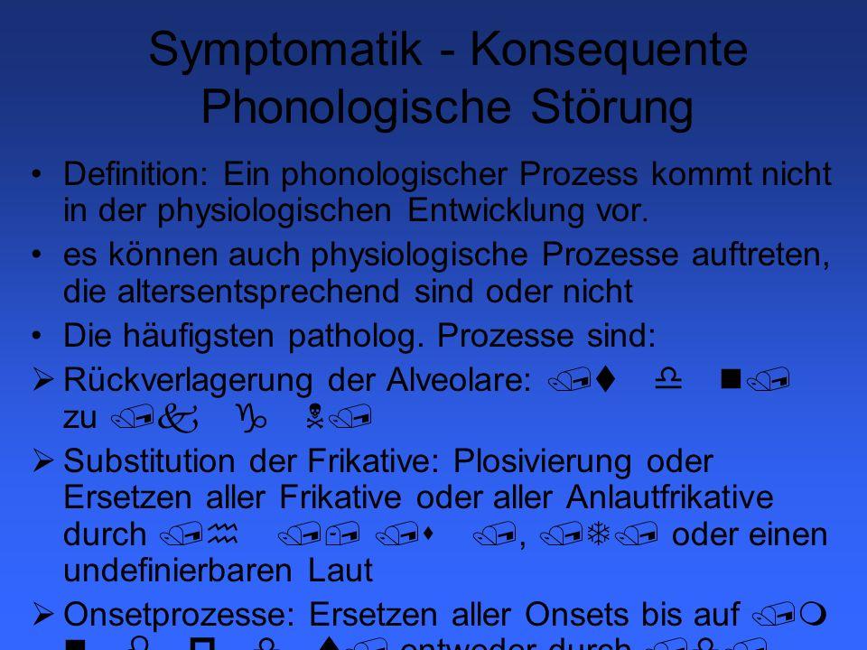 Symptomatik - Inkonsequente Phonologische Störung Definition: identische lexikalische Items werden nicht immer auf die gleiche Weise gebildet mindestens 40% der Wörter aus einem 25- Wörter-Test (PLAKSS) werden bei drei- maliger Produktion inkonsequent realisiert Es treten physiologische als auch pathologi- sche Prozesse auf, die bei jeder Diagnostik anders aussehen
