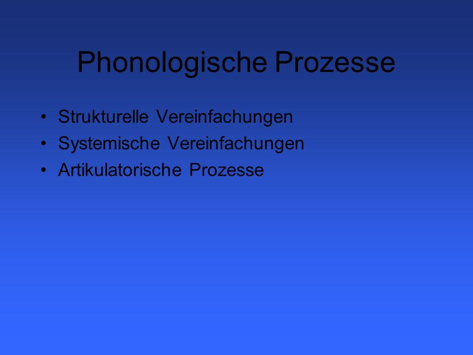 Strukturelle Vereinfachungen Veränderung der Wortstruktur durch phonologische Prozesse Tilgung unbetonter Silben (TUS); z.