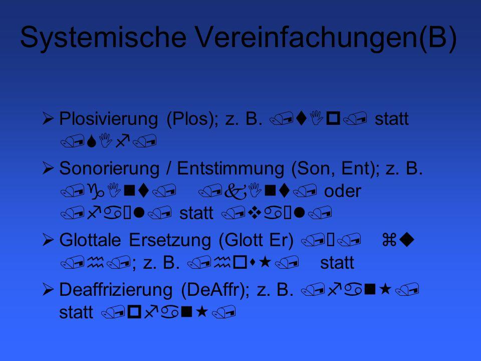 Artikulatorische Prozesse Interdentalität /s/ wird zu /T/; /z/ wird zu /D/ Multiple Interdentalität Addentalität Lateralisation von Sibilanten /S/ oder /s/ werden zu /Â/