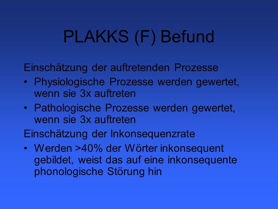 PLAKKS (F) Befund Einschätzung der auftretenden Prozesse Physiologische Prozesse werden gewertet, wenn sie 3x auftreten Pathologische Prozesse werden