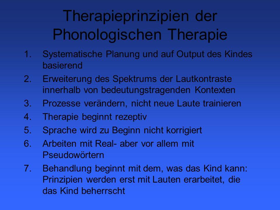 Psycholinguistisch orientierte Phonologische Therapie (P.O.P.T.) Prozessauswahl 1.Pathologie vor Physiologie: Bei Konse- quenter Pathologischer Störung wird stets mit den Pathologischen Prozessen be- gonnen.