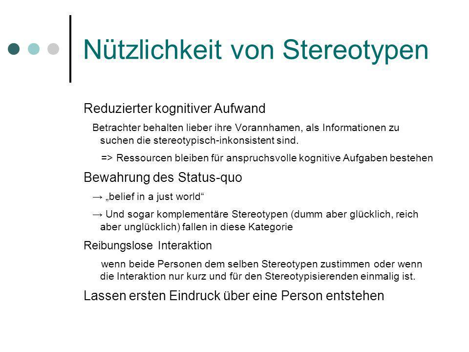 Nützlichkeit von Stereotypen Reduzierter kognitiver Aufwand Betrachter behalten lieber ihre Vorannhamen, als Informationen zu suchen die stereotypisch