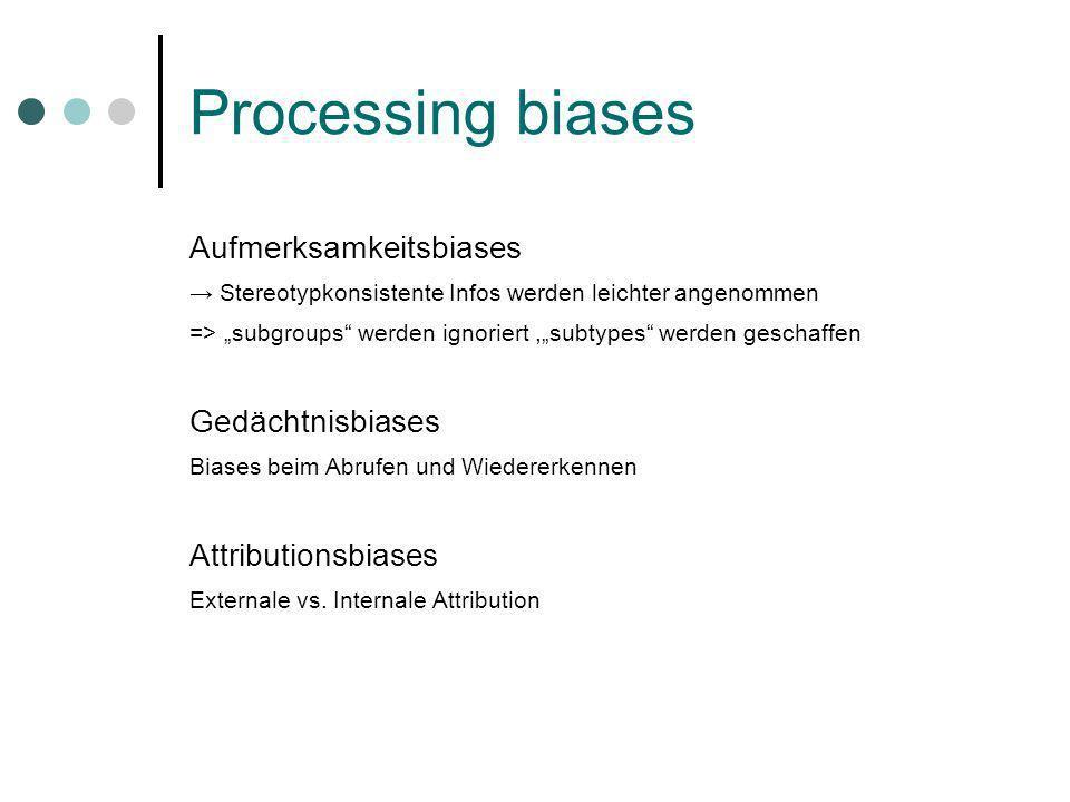 Processing biases Aufmerksamkeitsbiases Stereotypkonsistente Infos werden leichter angenommen => subgroups werden ignoriert,subtypes werden geschaffen