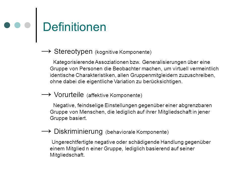 Definitionen Stereotypen (kognitive Komponente) Kategorisierende Assoziationen bzw. Generalisierungen über eine Gruppe von Personen die Beobachter mac