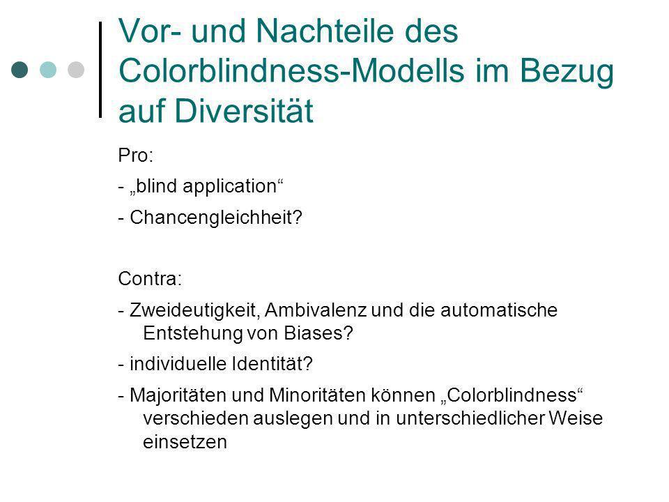 Vor- und Nachteile des Colorblindness-Modells im Bezug auf Diversität Pro: - blind application - Chancengleichheit? Contra: - Zweideutigkeit, Ambivale