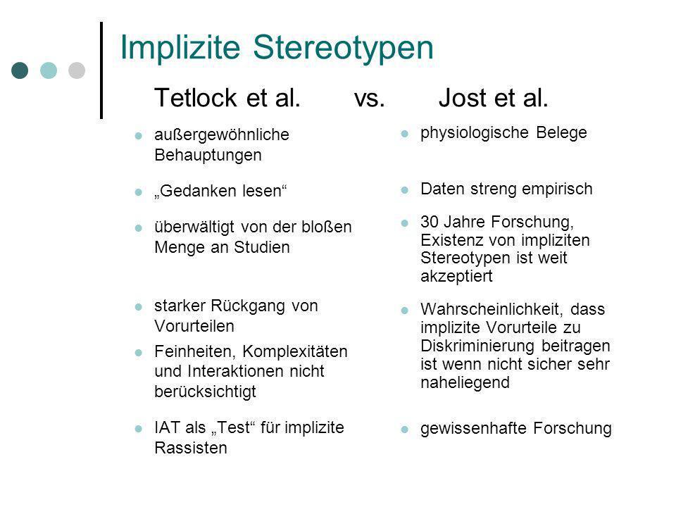 Implizite Stereotypen Tetlock et al. vs. Jost et al. außergewöhnliche Behauptungen Gedanken lesen überwältigt von der bloßen Menge an Studien starker