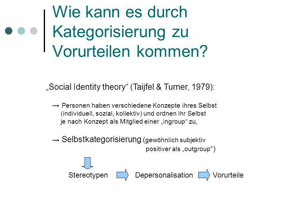 Wie kann es durch Kategorisierung zu Vorurteilen kommen? Social Identity theory (Taijfel & Turner, 1979): Personen haben verschiedene Konzepte ihres S