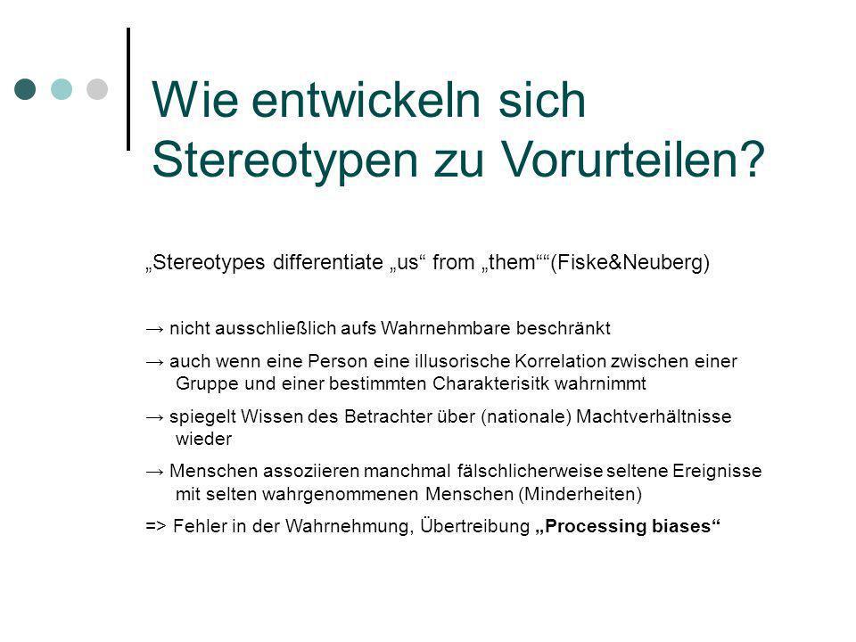 Stereotypes differentiate us from them(Fiske&Neuberg) nicht ausschließlich aufs Wahrnehmbare beschränkt auch wenn eine Person eine illusorische Korrel