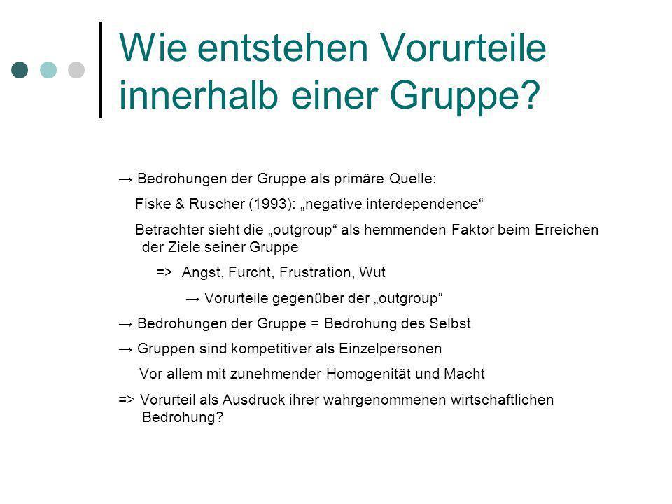 Wie entstehen Vorurteile innerhalb einer Gruppe? Bedrohungen der Gruppe als primäre Quelle: Fiske & Ruscher (1993): negative interdependence Betrachte