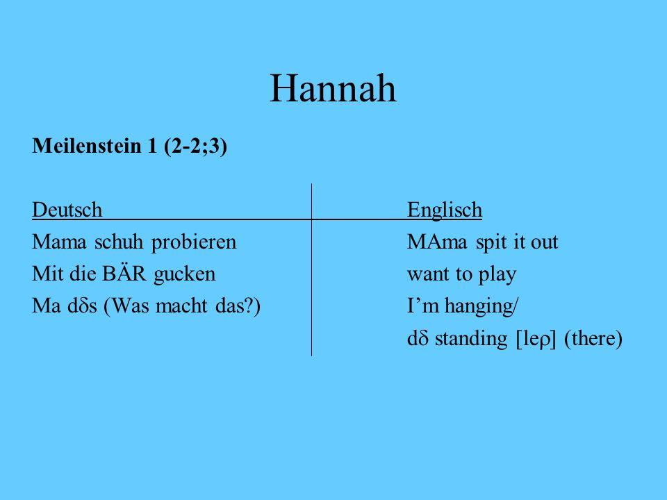 Hannah und Adam Hannah Mutter spricht Englisch, Vater spricht Deutsch Adam Mutter spricht Deutsch, Vater spricht Englisch doppelter Erstspracherwerb