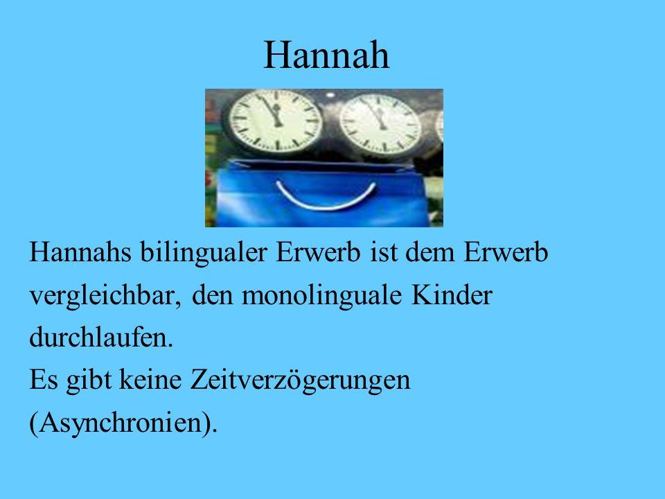 Hannah Meilenstein 3 (ab 3;1) DeutschEnglisch Warum is des nich daWheres the little Zuerst da sag ich ob ichteddy? ein Buch kriegenWas kriege ich when