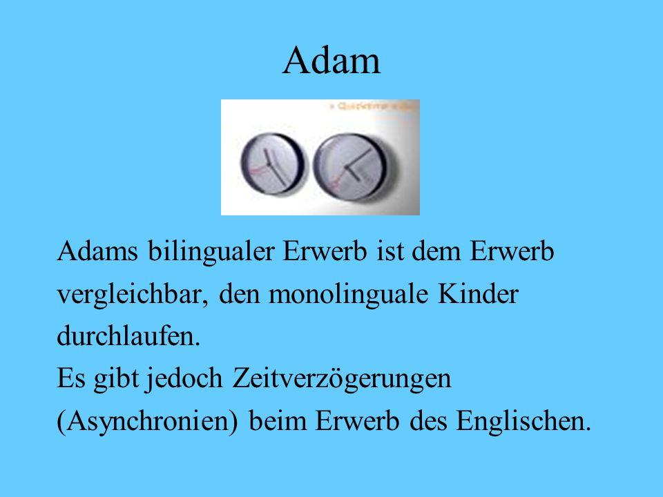 Adam Meilenstein 2 Ich KANN nicht alleine machen. Ich kann das nicht alleine. (3;7) Das hat die LAUra gemacht. (3;7) It go like THAT (3;8) THAT one ca