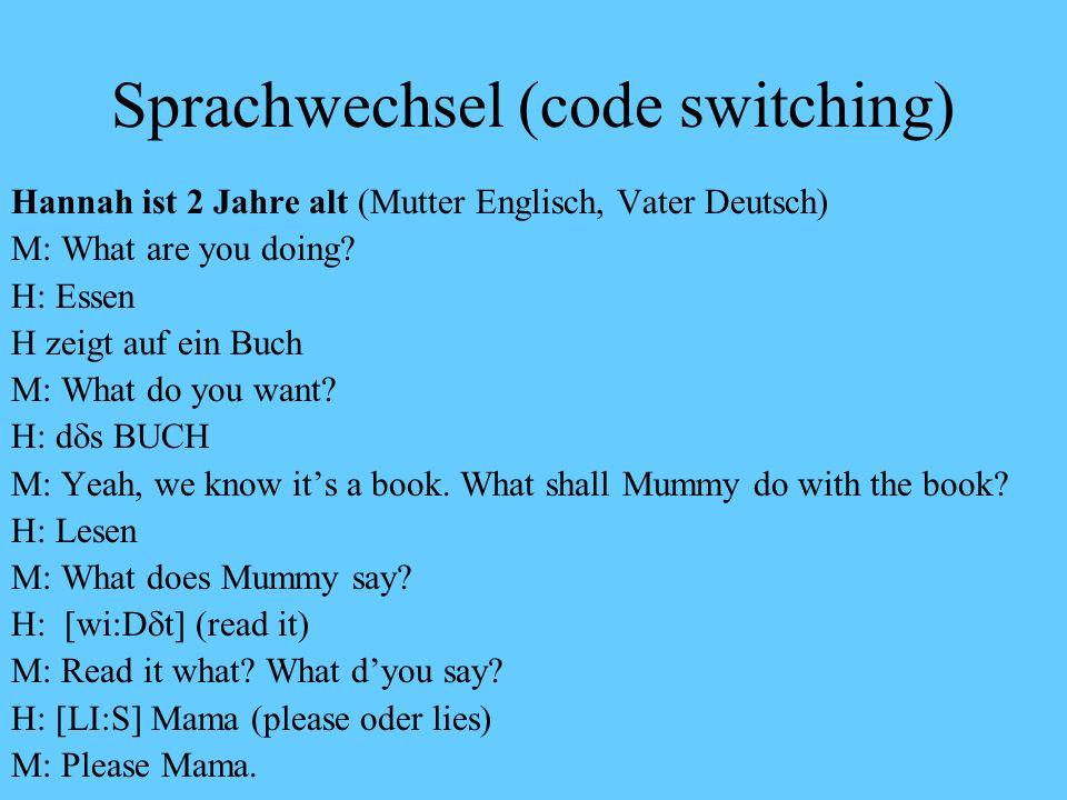 Terminologisches Sprachwechsel = (adressaten- bzw. situationsorientierter Wechsel der Sprache; code switching) Sprachmischen = die Komponenten aus den