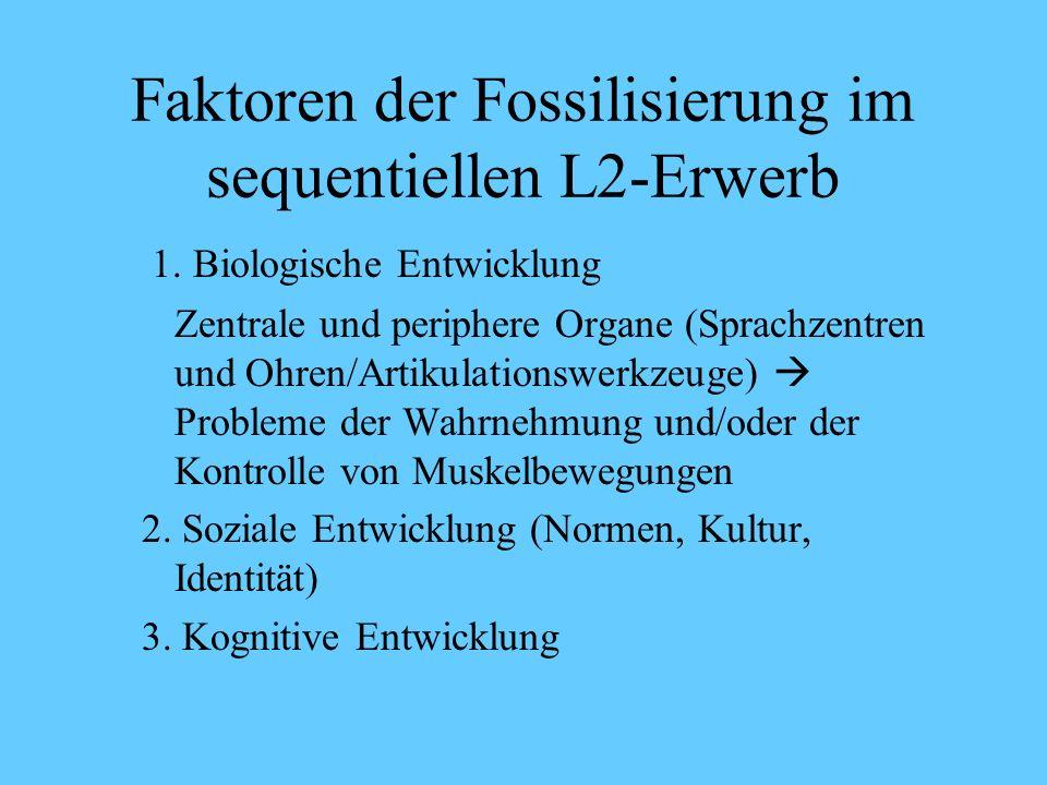 Sequentieller L2-Erwerb Alter ( Sprache im Gehirn) Ist empirisch nicht bestätigt worden Dagegen Klein, W. (2000): Prozesse des Zweitspracherwerbs. In: