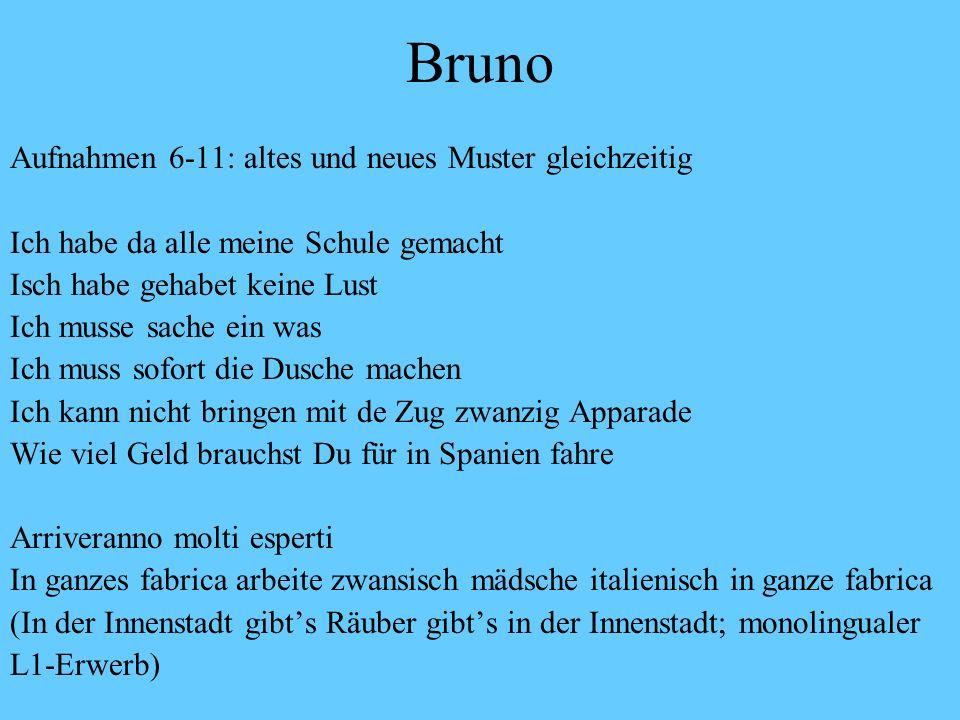 Bruno 1. Aufnahmen 1-4, Anfangsstadium eine Person muss studieren eine Sprache meine wenn du hast gesprochen mit die andere Personen wenn ich war kran