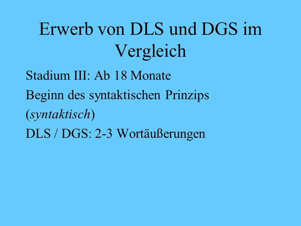 Erwerb von DLS und DGS im Vergleich Stadium II: Ab 12 Monate Vorläufer der Syntax (lexikalisch) DLS/ DGS: Einwortäußerungen mehr Wörter werden verstanden als produziert 18-19 Monate: ca.