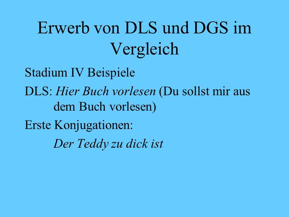 Erwerb von DLS und DGS im Vergleich Stadium IV: Ab 24 Monate Vorläufer zur einzelsprachlichen Grammatik DLS / DGS: Erste grammatische Mehrwortkonstruktionen