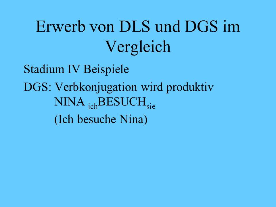 Erwerb von DLS und DGS im Vergleich Stadium IV Beispiele DLS: Hier Buch vorlesen (Du sollst mir aus dem Buch vorlesen) Erste Konjugationen: Der Teddy