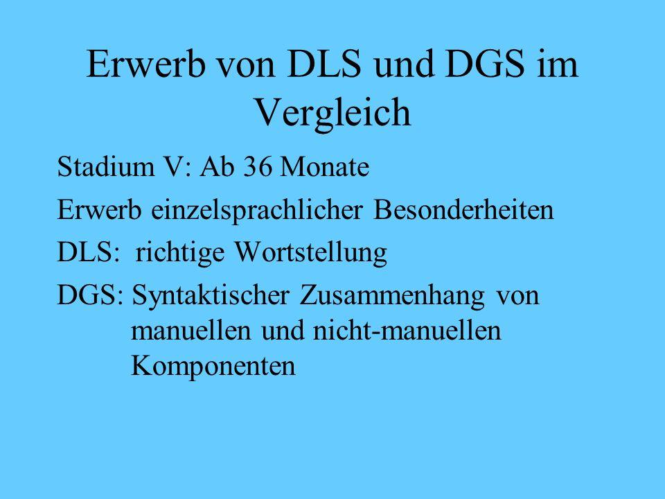 Erwerb von DLS und DGS im Vergleich Stadium IV Beispiele DGS: Verbkonjugation wird produktiv NINA ich BESUCH sie (Ich besuche Nina)