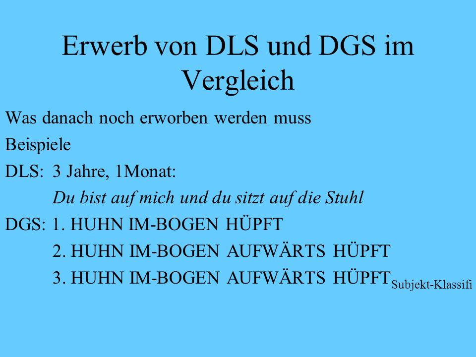 Erwerb von DLS und DGS im Vergleich Was danach noch erworben werden muss DLS: Morphologie (z.B. Dativ) DGS: Morphologie (Zusammenhang von Klassifikati