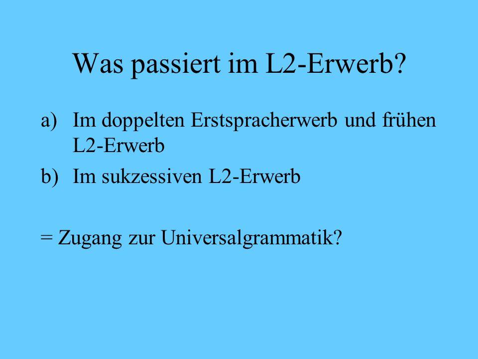 Spracherwerb: Grundlegendes Monolingual Bilingual Kritische Phase: bis maximal 4 Jahre Mutterspracherwerb = L1-Erwerb = Erstspracherwerb Fremdspracherwerb = L2-Erwerb = Zweitspracherwerb Ungesteuerter L2-Erwerb a)in der kritischen Phase gleichzeitig = doppelter Erstspracherwerb b)In der kritischen Phase nacheinander = früher L2-Erwerb c)Nach der kritischen Phase = sukzessiver L2-Erwerb Gesteuerter L2-Erwerb